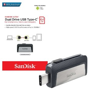 Pen Drive Sandisk 64GB Ultra Dual Tipo-C Drive USB 3.1 150MB/s para Android, PC e Mac