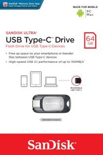 Pen Drive Sandisk 64GB Ultra Tipo-C Drive USB 3.1 150MB/s para Android, PC e Mac