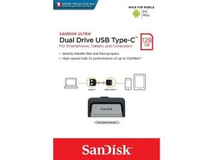 Pen Drive Sandisk 128GB Ultra Dual Tipo-C Drive USB 3.1 150MB/s para Android, PC e Mac