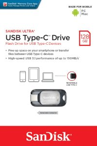 Pen Drive Sandisk 128GB Ultra Tipo-C Drive USB 3.1 150MB/s para Android, PC e Mac