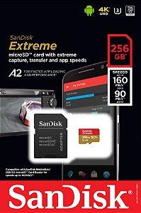 Cartão MicroSDXC Sandisk 256GB Classe 10 Extreme A2 160-90MB/s