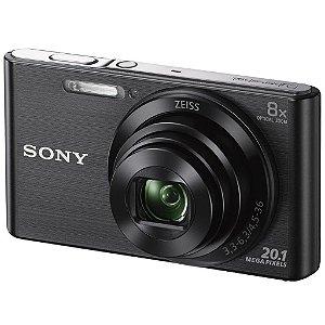 Câmera Digital Sony Cybershot DSC-W830 Preta 20.1MP Zoom Óptico 8X Vídeo HD