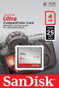Cartão CF Sandisk 4GB Ultra 25MB/s