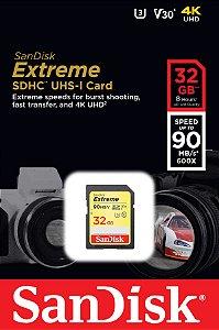 Cartão SDHC Sandisk 32GB Classe 10 Extreme 90MB/s