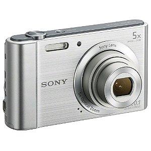 Câmera Digital Sony Cybershot DSC-W800 Prata 20.1MP Zoom Óptico 5X Vídeo HD