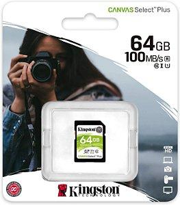 Cartão SDXC Kingston 64GB Classe 10 Canvas Select Plus 100MB/s