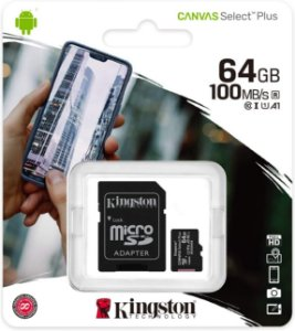 Cartão MicroSDXC Kingston 64GB Classe 10 Canvas Select Plus A1 100MB/s