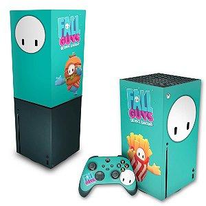 KIT Xbox Series X Skin e Capa Anti Poeira - Fall Guys