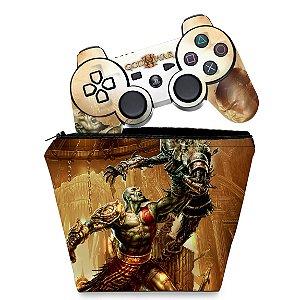 KIT Capa Case e Skin PS3 Controle - God Of War 3 #1