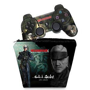 KIT Capa Case e Skin PS3 Controle - Metal Gear Solid #b