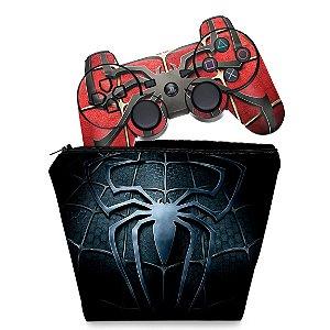 KIT Capa Case e Skin PS3 Controle - Homem Aranha