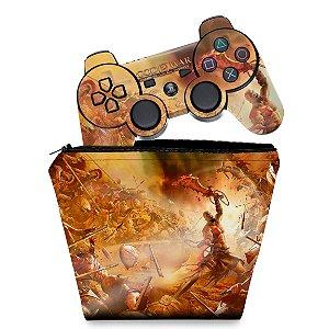 KIT Capa Case e Skin PS3 Controle - God Of War 2