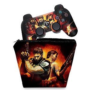KIT Capa Case e Skin PS3 Controle - Resident Evil 5