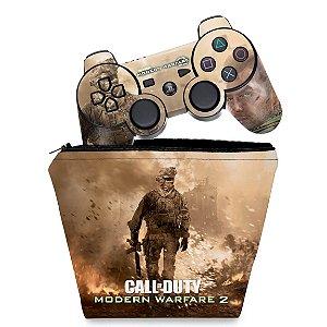 KIT Capa Case e Skin PS3 Controle - Modern Warfare 2