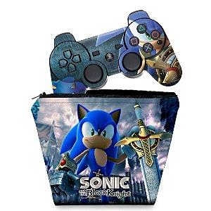 KIT Capa Case e Skin PS3 Controle - Sonic Black Knight