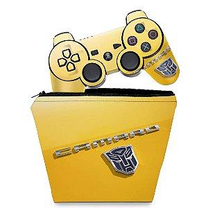 KIT Capa Case e Skin PS3 Controle - Transformers Camaro