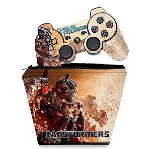 KIT Capa Case e Skin PS3 Controle - Transformers