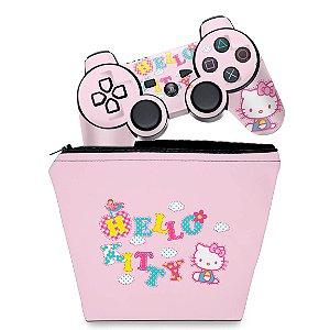 KIT Capa Case e Skin PS3 Controle - Hello Kitty