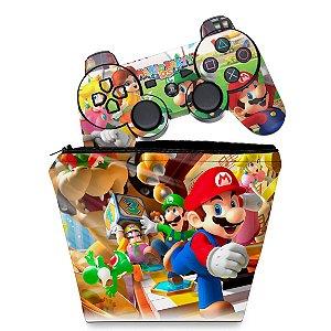 KIT Capa Case e Skin PS3 Controle - Mario Party