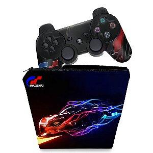KIT Capa Case e Skin PS3 Controle - Gran Turismo 5