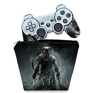 KIT Capa Case e Skin PS3 Controle - Skyrim