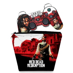KIT Capa Case e Skin PS3 Controle - Red Dead Redemption