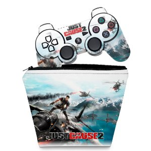 KIT Capa Case e Skin PS3 Controle - Just Cause 2