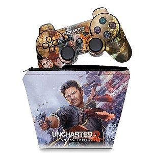 KIT Capa Case e Skin PS3 Controle - Uncharted 2