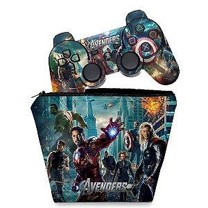 KIT Capa Case e Skin PS3 Controle - Avengers Vingadores