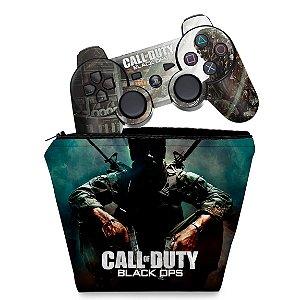 KIT Capa Case e Skin PS3 Controle - Call O Duty Black Ops