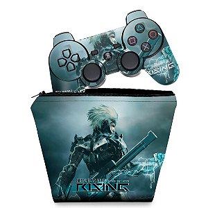KIT Capa Case e Skin PS3 Controle - Metal Gear Solid