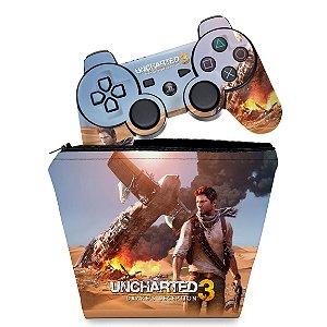 KIT Capa Case e Skin PS3 Controle - Uncharted 3