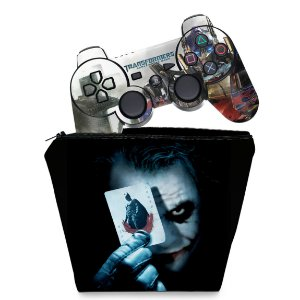 KIT Capa Case e Skin PS3 Controle - Batman Coringa