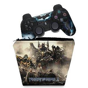 KIT Capa Case e Skin PS3 Controle - Transformers b