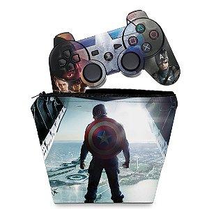 KIT Capa Case e Skin PS3 Controle - Capitao America