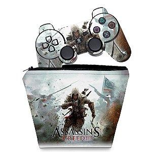 KIT Capa Case e Skin PS3 Controle - Assassins Creed 3