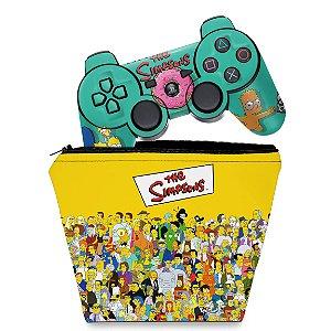 KIT Capa Case e Skin PS3 Controle - Simpsons