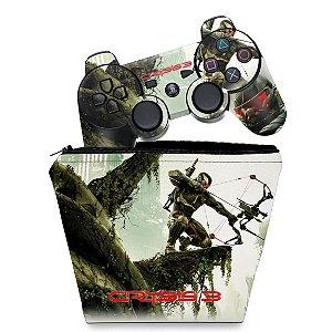 KIT Capa Case e Skin PS3 Controle - Crysis 3