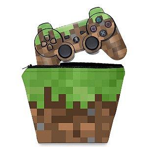 KIT Capa Case e Skin PS3 Controle - Minecraft