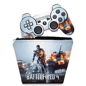 KIT Capa Case e Skin PS3 Controle - Battlefield 4