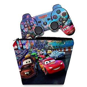 KIT Capa Case e Skin PS3 Controle - Carros 2 Cars