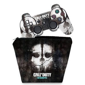 KIT Capa Case e Skin PS3 Controle - Call Of Duty Ghosts
