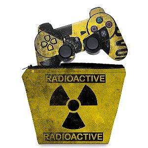 KIT Capa Case e Skin PS3 Controle - Radioativo