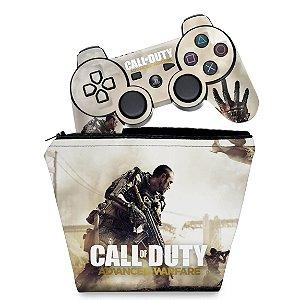 KIT Capa Case e Skin PS3 Controle - Call Of Duty Advanced Warfare