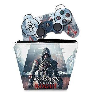 KIT Capa Case e Skin PS3 Controle - Assassins Creed Rogue