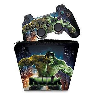 KIT Capa Case e Skin PS3 Controle - Hulk