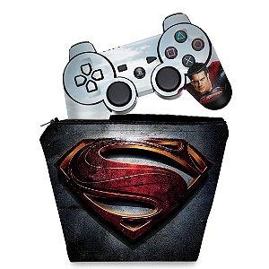 KIT Capa Case e Skin PS3 Controle - Superman