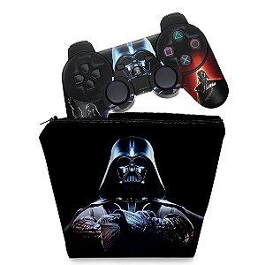 KIT Capa Case e Skin PS3 Controle - Darth Vader