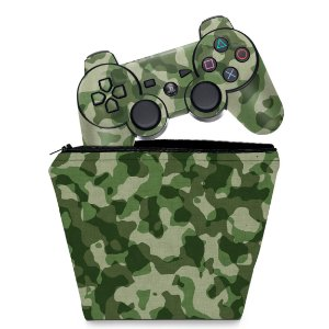 KIT Capa Case e Skin PS3 Controle - Camuflado #b