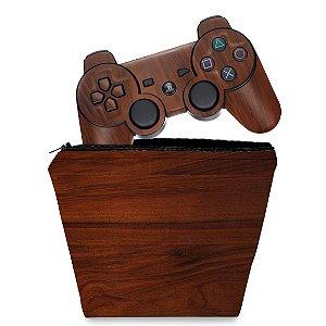 KIT Capa Case e Skin PS3 Controle - Madeira #1